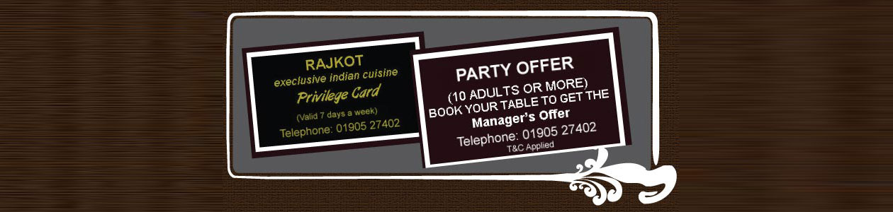 Rajkot Indian Restaurant and Takeaway Corporate Discount Card